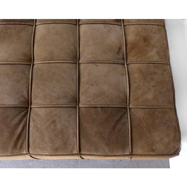 Brown Large Tufted Square Suede Ottoman For Sale - Image 8 of 9
