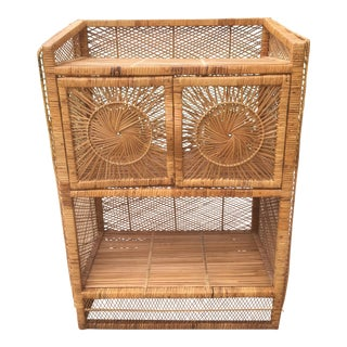 1970s Vintage Rattan Sunburst Cabinet For Sale