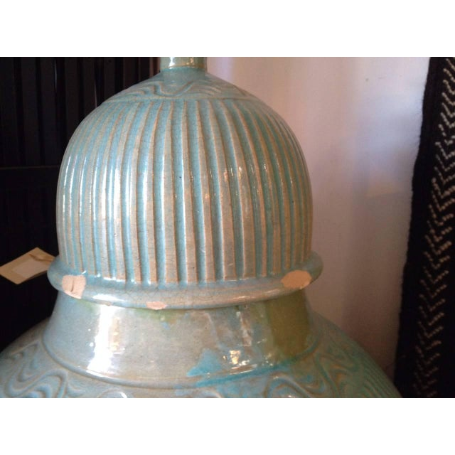 Turquoise Mid Century Large Moorish Blue Ceramic Urns With Lid - a Pair For Sale - Image 8 of 10