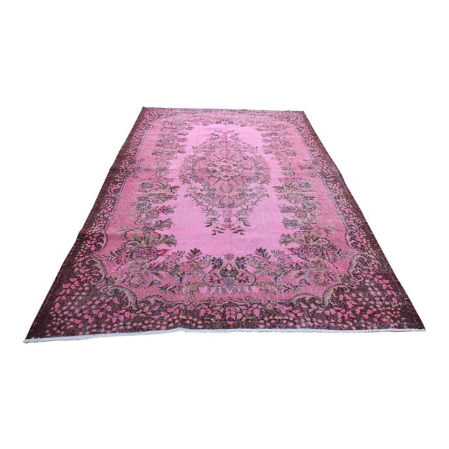 "Vintage Turkish Pink Overdyed Rug - 6' X 9'9"" For Sale"