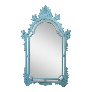 Vintage Chinoiserie Turquoise Blue Wall Mirror For Sale