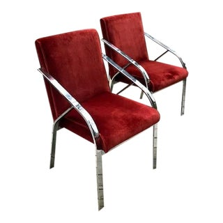 1980s Vintage Pierre Cardin Upholstered Chrome Chairs- A Pair For Sale
