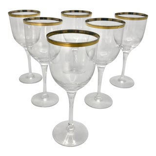 Japanese Noritake Gold and Platinum Band Crystal Wine Glasses - Set of 6