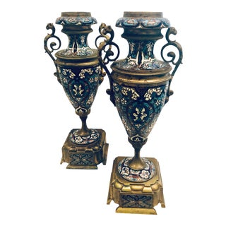 19th Century French Champleve Vases- a Pair For Sale