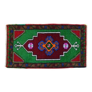 """Hand Knotted Oushak Rug. Colorful Rug, Bath Mat, Laundry Decor 1'7"""" X 2'10"""" For Sale"""