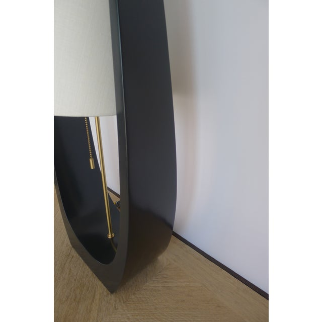 Wishbone Table Lamp by Paul Marra shown in new satin matt gray-black finish and linen shade. Inquire for availability,...