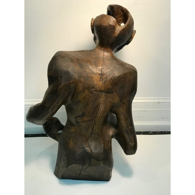 Late 20th Century Dramatic Sycamore Wood Sculpture of a Man's Figure For Sale - Image 5 of 8