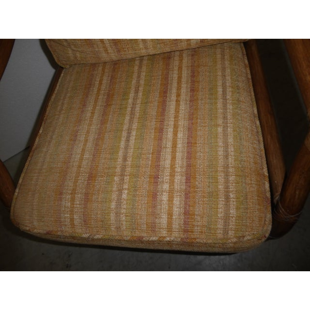 Vintage Mid Century Modern McGuire Tan Stripped Bamboo Rattan Accent Chair For Sale - Image 10 of 12