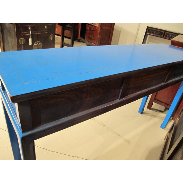 Chinoiserie Blue Lacquered Desk/Console Table For Sale In Greensboro - Image 6 of 7