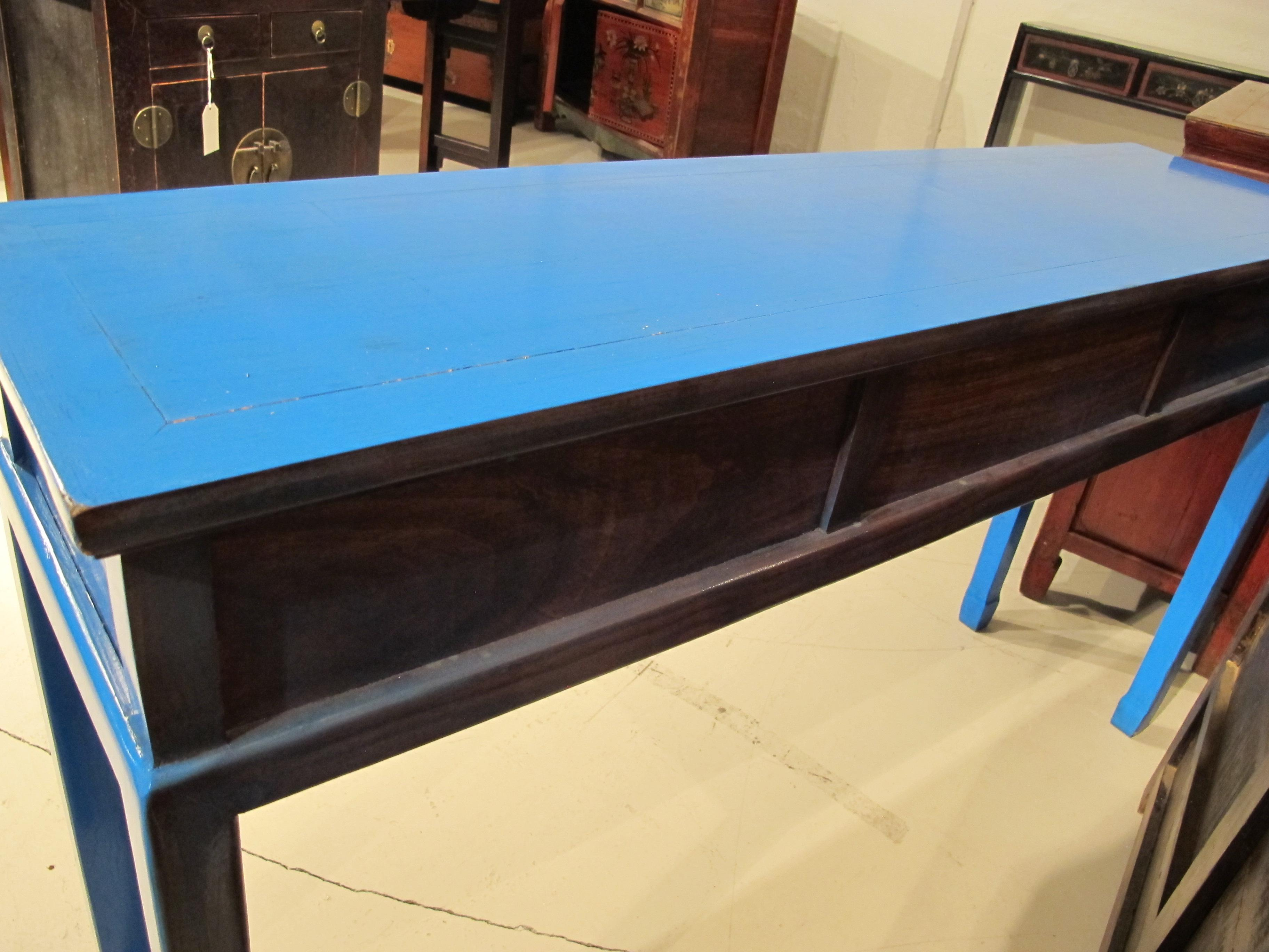 Chinoiserie Blue Lacquered Desk/Console Table For Sale In Greensboro    Image 6 Of 7