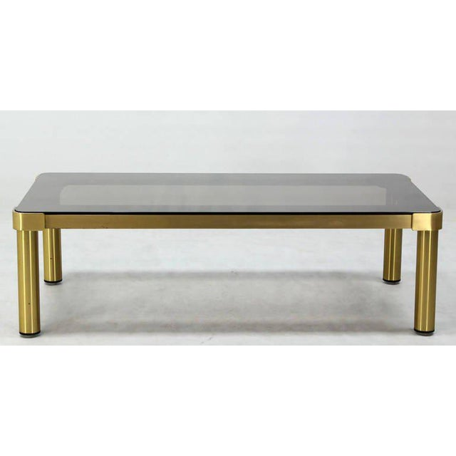 Mid-Century Modern Brass and Two-Tone Glass Coffee Table by Mastercraft For Sale - Image 10 of 11