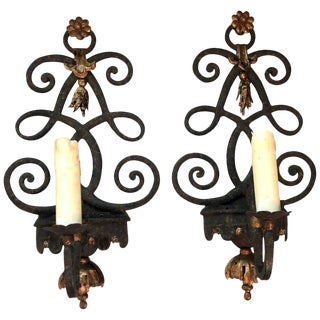 1980s Patinated Iron Sconces - A Pair For Sale