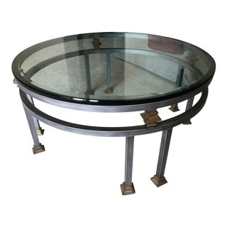 Late 20th Century Round Glass Coffee Table For Sale