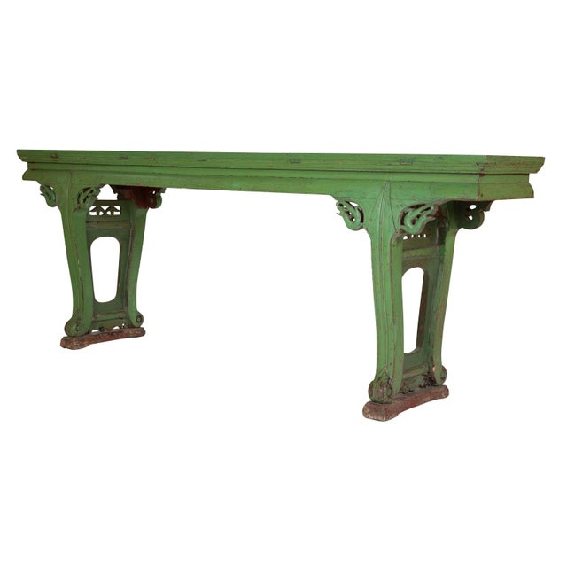 A very decorative 19th century Chinese altar table with apple green paint. Impressive in it's large scale at 8 feet across...