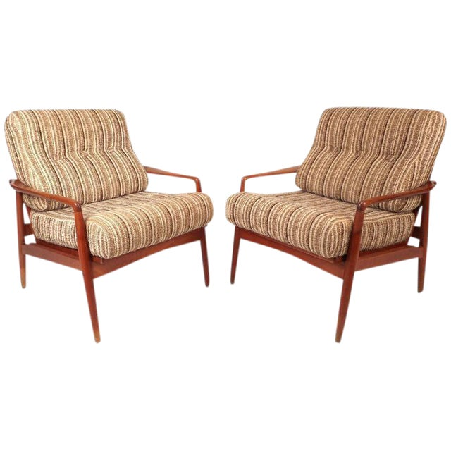 Mid-Century Modern Danish Teak Lounge Chairs - a Pair - Image 1 of 9