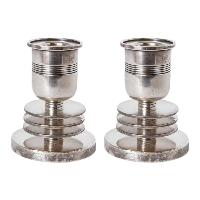 Machine Age Art Deco Silver Candlesticks, Lurelle Guild for International Silver For Sale