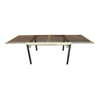 1970's Early Design Institute of America Extendable Dining Table With Smoked Glass For Sale