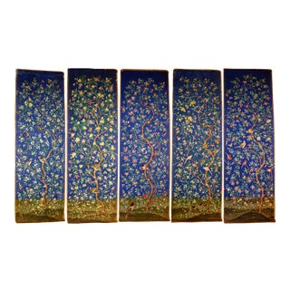 Chinoiserie Style Chinese Hand Painted Wallpaper - Set of 5 For Sale