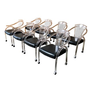 Vintage Mid Century Sculptural Lucite Dining Chairs- Set of 8 For Sale