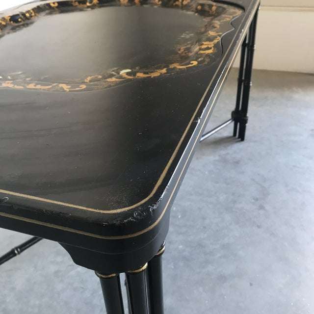 1930s 1930s Vintage English Regency Black Lacquered Coffee Table For Sale - Image 5 of 12