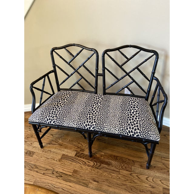 Vintage Chinese Chippendale Style Faux Bamboo Bench For Sale - Image 4 of 4