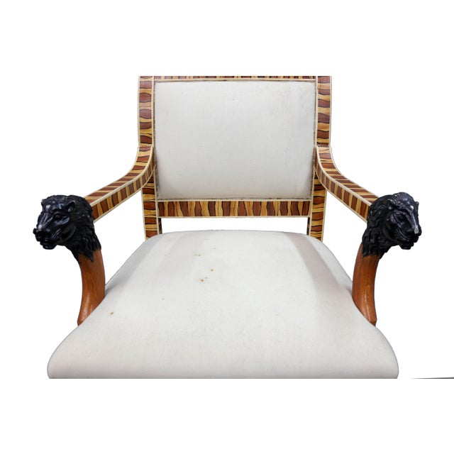 Mid 20th Century Vintage Mid Century Hand Painted Faux Wood Arm Chair For Sale - Image 5 of 7