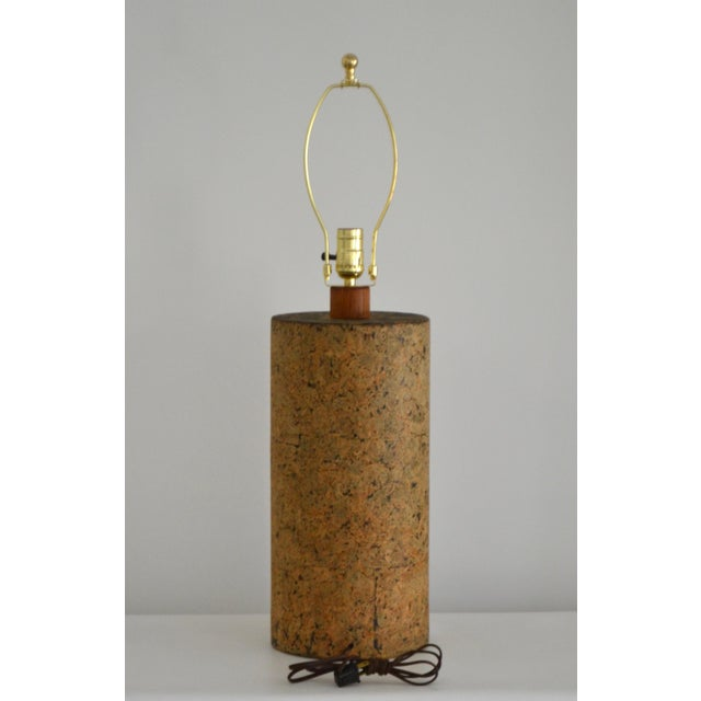 Mid-Century Cylindrical Form Cork Table Lamp For Sale In West Palm - Image 6 of 11