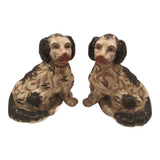 Mid 19th Century Antique English Staffordshire Spaniel Figurines - A Pair For Sale