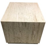 Image of Travertine Coffee Table Large Cube For Sale