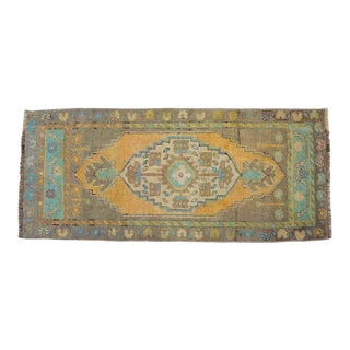 Distressed Low Pile Turkish Yastik Rug Faded Mat - 19'' X 41'' For Sale
