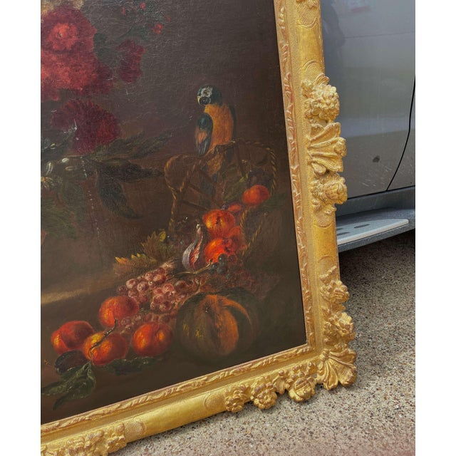 19th Century French Still Life Flower Oil Painting in Carved Gilt Frame For Sale - Image 9 of 13