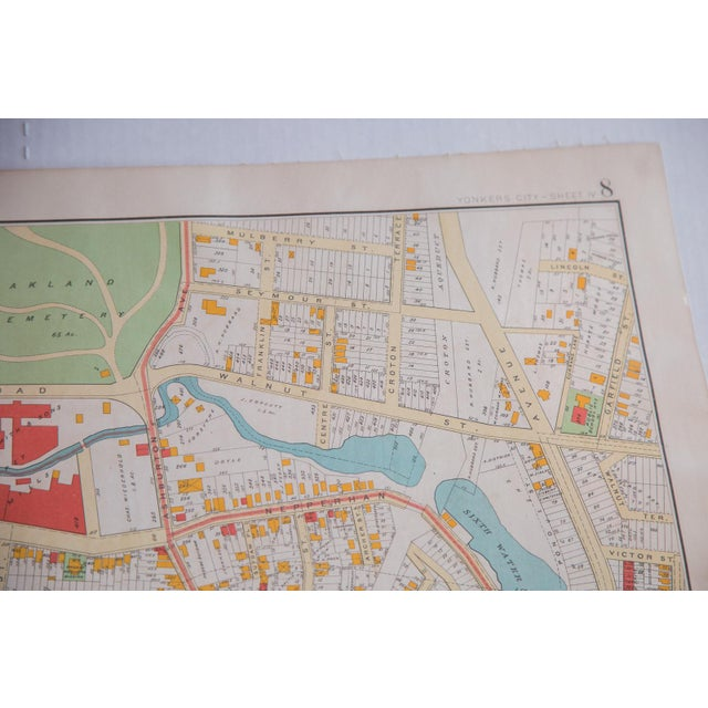 :: Antique map of Yonkers streets of Westchester County, New York. Features the fifth and sixth water powers, Saw Mill...