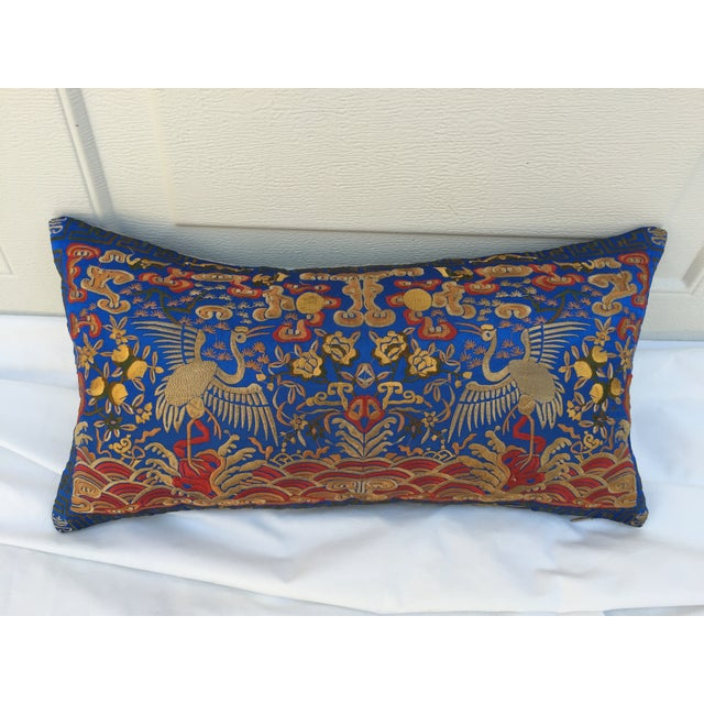Boudoir Chinoiserie pillow made of a colorful embroidered silk Asian textile fragment with cranes. New linen back and...
