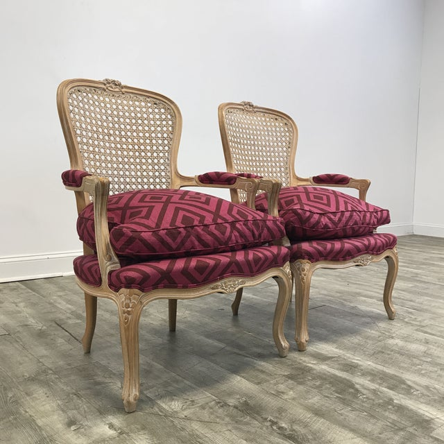 Pair of Pink Upholstered Cane Back Accent Chairs - Image 4 of 4