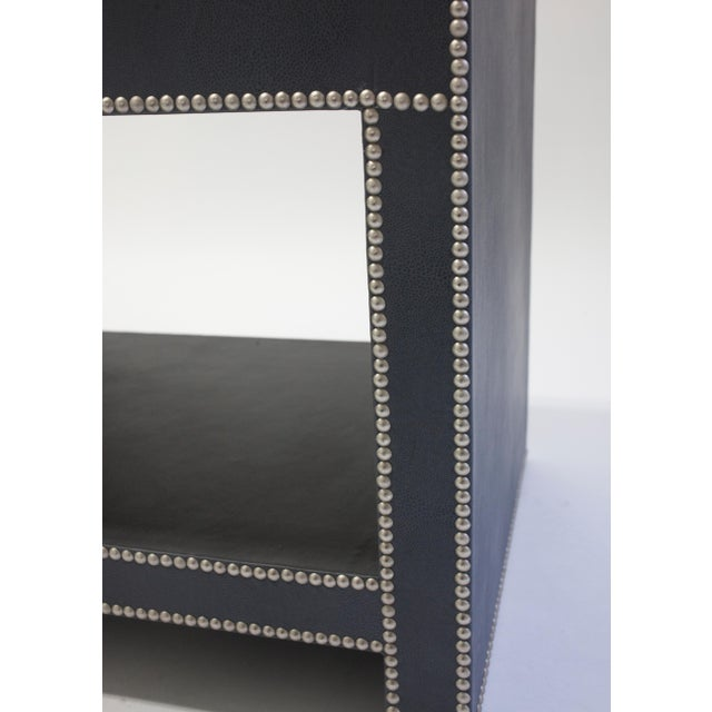 Leather Covered Bedside Table With Open Shelf Trimmed With Nailheads For Sale In New York - Image 6 of 7