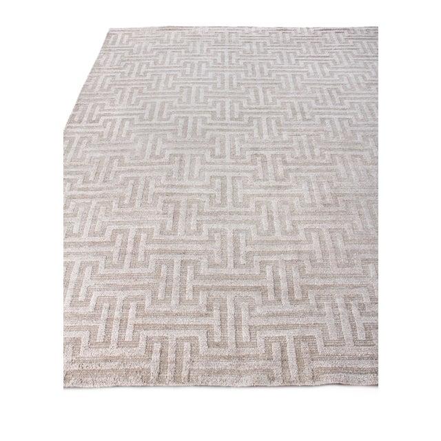 Exquisite Rugs Bazas Handwoven Cotton & Viscose Beige - 12'x15' For Sale - Image 4 of 8