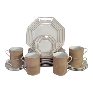 "1978 Fitz & Floyd Vintage China Table Service in Pinstripe ""Buff""-New/Old Stock, Set of 24pcs (8settings) For Sale"