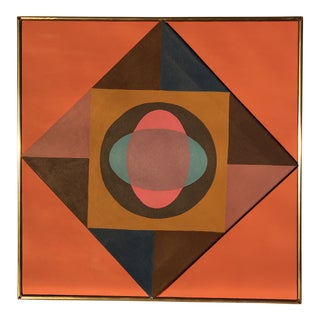 1970s Vintage Geometric Abstract Original Painting on Canvas For Sale