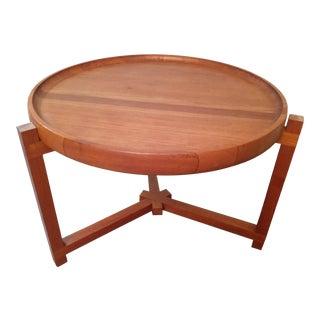1960s Danish Jens Quistgaard Attributed Teak Butcher Block Side Table For Sale