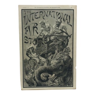 """Antique 1887 """"The International Fur Store"""" Illustrated Sporting and Dramatic News Print For Sale"""