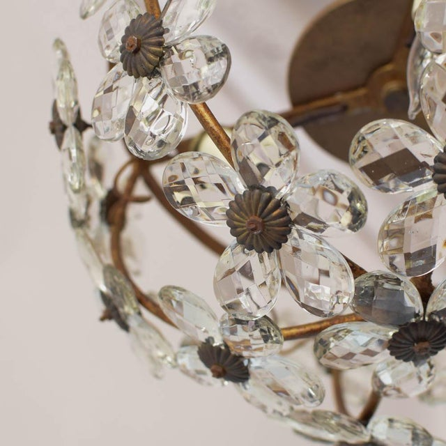 Boho Chic Mid 20th Century Italian Floral Crystal Flush Mount For Sale - Image 3 of 5