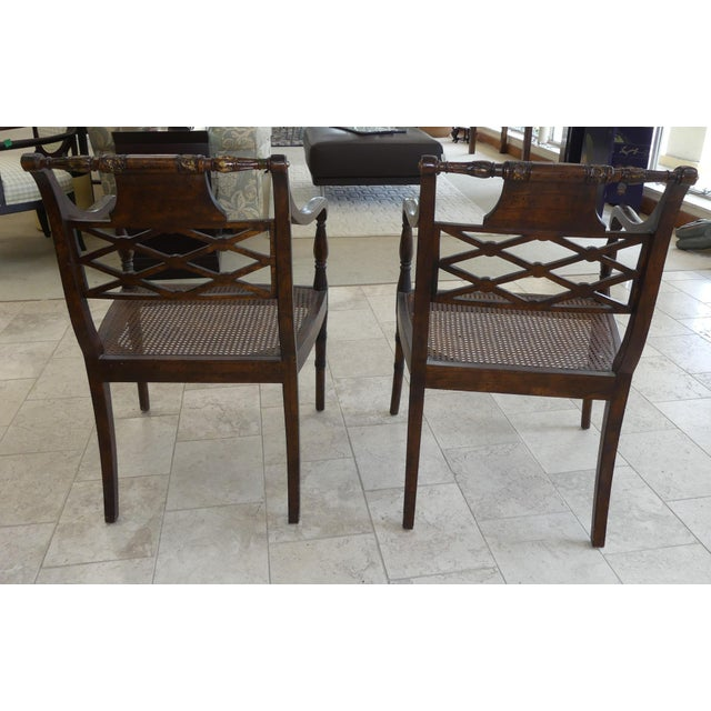 John Richard Traditional Cane Seat Regency Armchairs- a Pair For Sale - Image 4 of 13