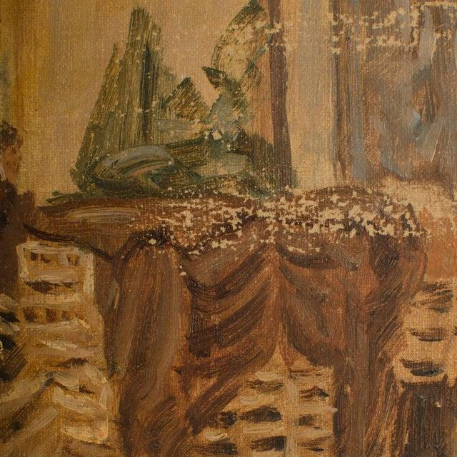 "Brown 1940s ""Market in Milan"" Street Scene Oil Painting by Joshua Felise Ziro Brevio For Sale - Image 8 of 13"