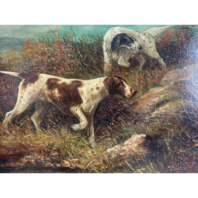 """""""Setters on the Yorkshire Moors"""" Pair of Oil Paintings by Herbert St. John Jones - A Pair For Sale - Image 4 of 7"""