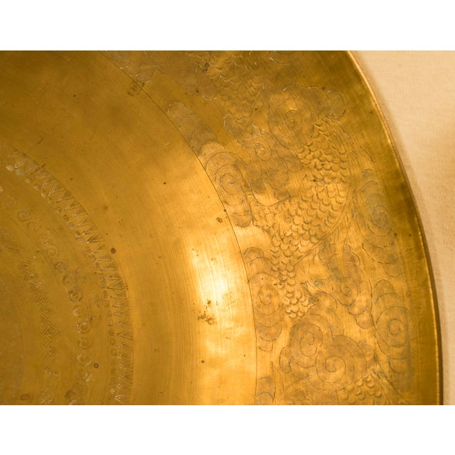 Hand-Hammered Chinese Brass Bowl For Sale - Image 4 of 9