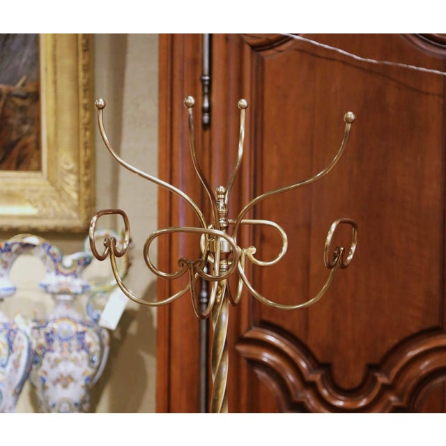 Art Deco Mid-Century French Gilt Brass Swivel Four Hat-Coat Hooks Hall Tree For Sale - Image 3 of 10