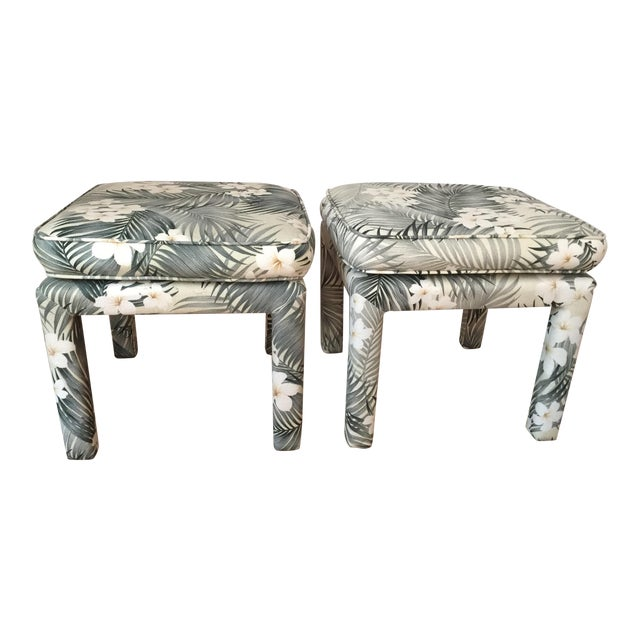Parsons Stools With Palm Leaf Fabric - A Pair For Sale