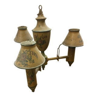 Early 20th Century Small Antique Tole Painted Chandelier For Sale