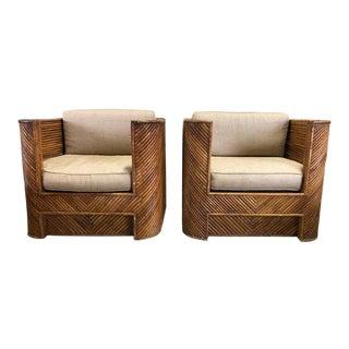 Mid Century Gabriella Crespi Style Italian Bamboo Club Chairs - a Pair For Sale