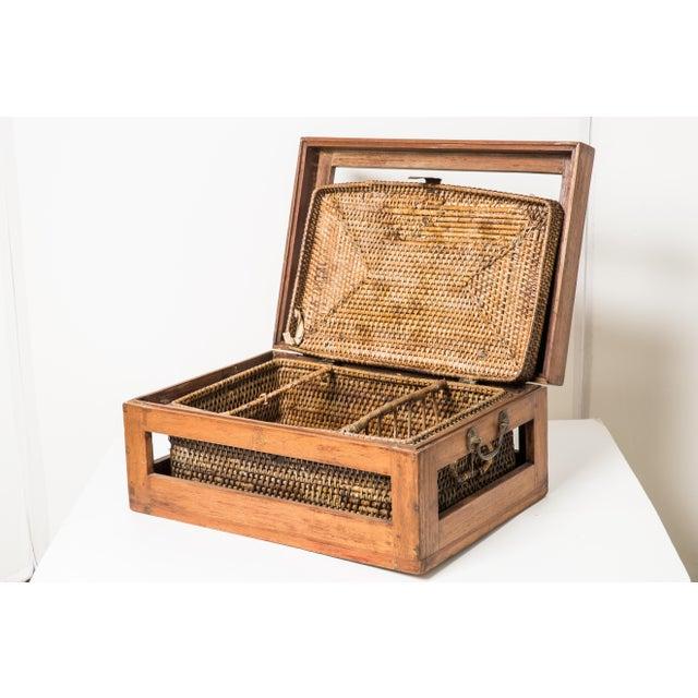 Antique Rattan & Teak Picnic Basket - Image 5 of 7
